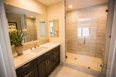 Transitional 3/4 Bathroom with High ceiling, Flush, MS International Perla White Quartz Countertop, Limestone counters