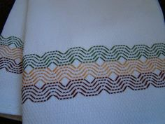 Handmade Swedish Weaving Embellished Towels Set of 2 Mais Cat Cross Stitches, Embroidery Stitches, Embroidery Patterns, Hand Embroidery, Free Swedish Weaving Patterns, Huck Towels, Swedish Embroidery, Monks Cloth, Bead Loom Patterns