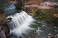 Not far from Merritt Reservoir in Cherry County, Nebraska, water flows over Snake River Falls. - Nebraska Photograph