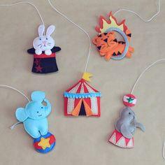 Felt Circus ornament - hanging felt ornament - fridge magnets set - ready to ship Hanging Ornaments, Felt Ornaments, Baby Crafts, Felt Crafts, Star Wars Nursery, Circus Theme, Felt Toys, Felt Christmas, Felt Animals