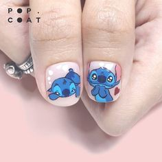 : STITCH : All handpainted one by one with gel paint. No stickers, no decals, no stencils. - Studio appointment only - No… Cute Spring Nails, Cute Nails, Pretty Nails, Disney Acrylic Nails, Best Acrylic Nails, Elegant Nail Designs, Cute Nail Designs, Nail Swag, Dream Nails