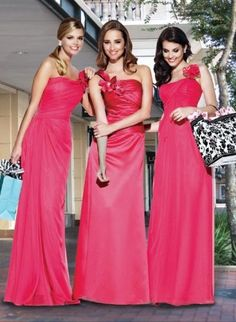 Peachy bridesmaid dress features one-shoulder neckline with a flower accented. Made of chiffon and elastic satin. Free made-to-measurement service for any size. Available colors seen as in Color Options.