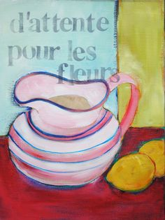 """I love the shape of this vase.  It is so yummie round and makes me want to fill it with all kinds of flowers.  So, the title """"waiting for flowers"""" makes sense to me.  Today it is all about shape and color.    This is a 12"""" x 16"""" acrylic on canvas.    my name is bonnie taylor talbot and ipaintpictures    Enjoy!"""