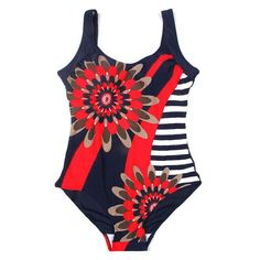 Red Striped Plus Size Monokini