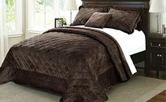 BNF Home Super Soft Microplush Quilted 4 Piece Bedspread Set Brown Comforter, Queen Comforter Sets, Cheap Bedding Sets, Cheap Bed Sheets, Bed Sheets Online, King Pillows, Quilted Bedspreads, Bnf, Bed Sheet Sets