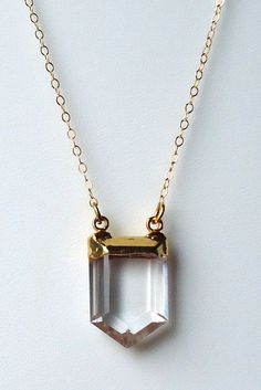 22k Crystal Quartz Point Necklace by pinejewelry on Etsy,