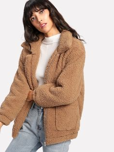To find out about the Dual Pocket Faux Fur Teddy Jacket at SHEIN, part of our latest Jackets ready to shop online today! Teddy Bear Jacket, Teddy Coat, Winter Fits, Winter Outfits Women, Faux Fur Jacket, Jacket Style, Mantel, Outerwear Jackets, Editorial Fashion