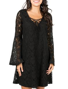 Flying Tomato Women's Black Lace with Lace Up V-Neck Long Bell Sleeve Dress | Cavender's