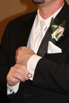 Baseball Themed Wedding - Cufflinks and Boutonnieres for the Groom or his Groomsmen.  Order today from SportsThemedWeddings.com