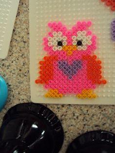 En StrikkeMutters Univers: Hama ugler -owl perler beads