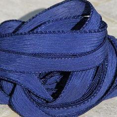 NAVY BLUE Silk Ribbons Hand Dyed Sewn 5 Indigo Dark by Jamnglass