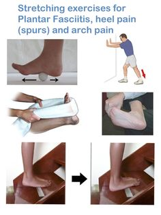 Stretching exercises for Plantar Fasciitis, heel pain (spurs) and arch pain IMPORTANT: The stretching exercises below should create a pulling feeling only, they should never cause any pain. Please be careful when doing these exercises and don't overdo i Remedies For Plantar Fasciitis, Plantar Fasciitis Treatment, Plantar Fasciitis Stretches, Taping For Plantar Fasciitis, Foot Exercises, Stretching Exercises, Fascia Stretching, Facitis Plantar, Boxe Fitness