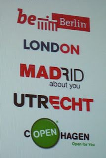 Playing with words is like a trend in citymarketing logodesign:  Lond-on,  Mad-About you-Madrid, I Am-sterdam! Utrecht-echt (echt means real) etc.