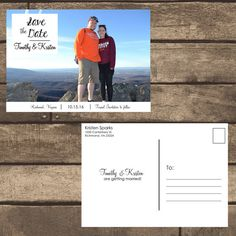 Printable PDF Front & Back Save the Date Postcard w/ by ZSDesign