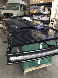 Outside Van Sprinter roof rack with Zamp solar panels and light bar Mercedes Sprinter, Sprinter Camper, Sprinter Van Conversion, Camper Van Conversion Diy, Vw T3 Westfalia, Van Roof Racks, Ducato Camper, Custom Camper Vans, Van Home