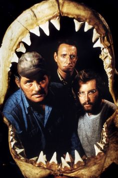 """Robert Shaw, Roy Scheider, and Richard Dreyfuss in a fantastic publicity still for Steven Spielberg's Jaws (1975) """