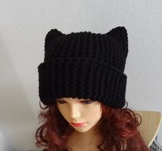 BLACK Cat Ears Hat Cat Beaie Chunky Knit Winter by Ifonka on Etsy