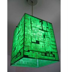 DIY Lamp with recycled circuit boards Vintage Industrial Lighting, Industrial Light Fixtures, Abbat Jour, Luminaria Diy, Circuit Board Design, Electronic Art, Electronic Circuit Board, Lighting Design, Creative
