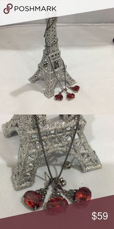 925 sterling silver set Sterling silver set of earrings and necklace with marcasite in red stones Jewelry Earrings