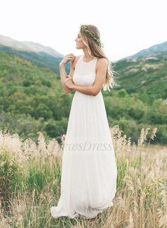 Empire Scoop Neck Sweep Train Ruffle Chiffon Zipper Up Regular Straps Sleeveless Beach Hall Garden / Outdoor No Spring Summer Ivory White Wedding Dress