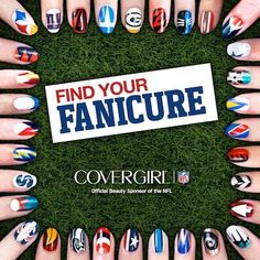 NFL Manicures  CLICK on the pic to find your team and design... how to instr.