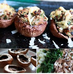 Stuffed Portabella Mushrooms for a main dish! Perfect with our Cabernet Sauvignon!