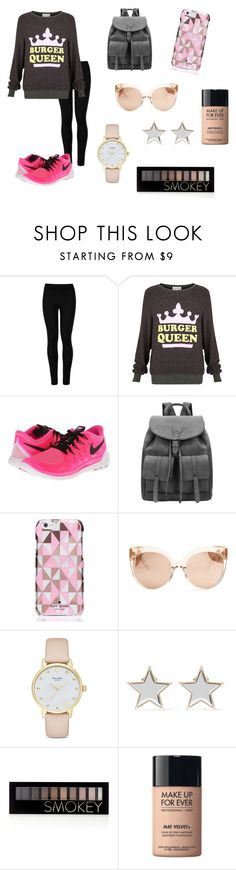 """""""Burger Queen"""" by hellofashion22 ❤ liked on Polyvore featuring Wolford, Wildfox, NIKE, Kate Spade, Linda Farrow, Givenchy, Forever 21 and MAKE UP FOR EVER"""