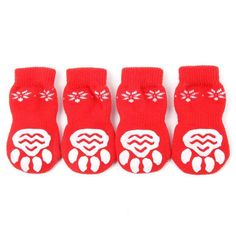 Warm Knitted Dog Socks 4PCs/set