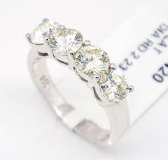 Platinum 950 VS1-SI1,2.23tcw Four Stone Rounds Diamonds Engagement Ring 6.5