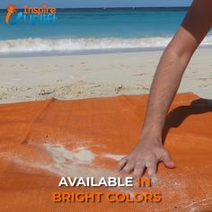 The Sand Proof Beach Mat dual mesh material lets particles fall right through it without sticking to anything! It even keeps dirt and sand underneath from coming back up the other way. You need this fo
