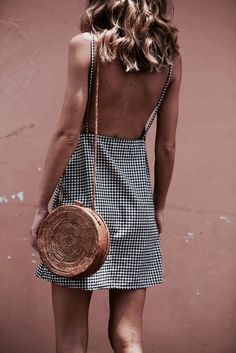 houndstooth print for a summer dress + circle bag