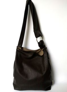 Brown Hobo Bag Big Bag Casual Student bag  Messenger by TikeStudio, $75.00