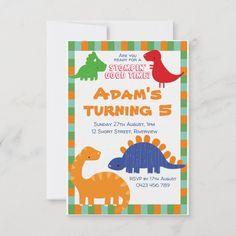 Cartoon Dinosaur Birthday Invitation Dinosaur Birthday Invitations, Dinosaur Birthday Party, First Birthday Parties, First Birthdays, Cartoon Dinosaur, Paper Texture, Pink And Gold, Holiday Cards, Dinosaurs