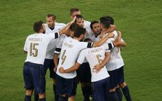 Graziano Pellè of Italy celebrates his team's equalizing goal during the international friendly match between Italy and France at Stadio San Nicola on September 1, 2016 in Bari, Italy.