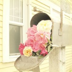 i want flowers inside my mailbox too ! Mellow Yellow, Pink Yellow, Hot Pink, Yellow Cottage, Rose Cottage, Cottage Chic, David Foster Wallace, Colorful Roses, Favim