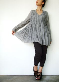 NO.93    Grey Cotton Pintuck Front Blouse Pleated Front Detail Top. $45.00, via Etsy.