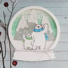 HELLO!!! Here's another #snowglobe #shakercard using #mftstamps products. These #polarbears by #birdiebrown are so cute . Have a wonderful week crafty friends !!! . Entering this card for #simonsaysstamp #sssmchallenge #ssswchallenge . #Christmascard #Christmascards #holidaycards #holidaycard #snowglobes #card #polarbearpals
