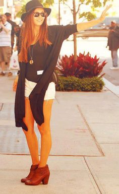 Black top + black cardigan + white denim shorts + brown ankle boots + clock necklace. Nina Dobrev style. ♥