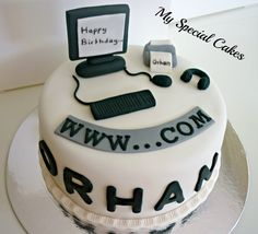 My Special Cakes: Computer Cake - Special Cake Cupcakes, Cupcake Cakes, Computer Cake, Foto Pastel, Dad Cake, Retirement Cakes, Novelty Cakes, Cake Toppings, Wedding Cakes
