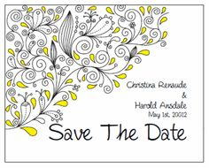 Save the Date. Printable Wedding Invitations Paisley Christina Suite: Yellow and Black