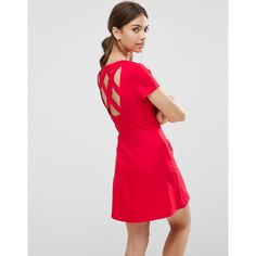 Daisy Street Skater Dress With Cross Back (430 ZAR) ❤ liked on Polyvore featuring dresses, red, red high neck dress, fit flare dress, criss cross back skater dress, criss cross back dress and fit and flare dress