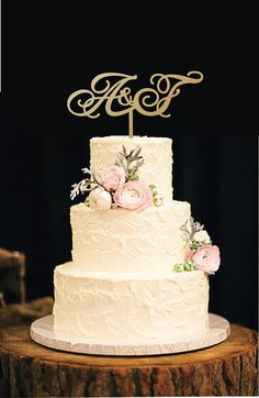 Custom Initial Cake Topper Wedding Monogram.Custom Cake Topper Wooden Monogram . Wedding Gold Cake  Topper.