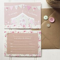 10 x Girl Christening invitations. Pretty floral by SarahWants