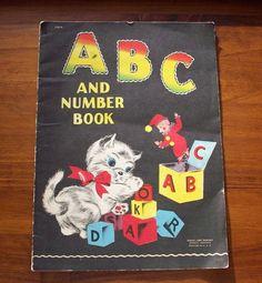 Vintage Childrens Book, 1940s, RARE, ABC Book, Samuel Lowe, Black Litho, Bright Colors.