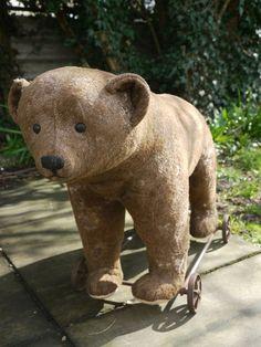Showcased by Josie Rockett Antique Toys, Vintage Toys, Antique Teddy Bears, Old Dolls, Bear Cubs, Bear Toy, Felt Animals, Brown Bear, Antiques