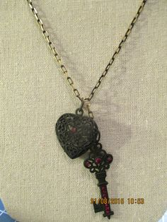 Pendant Heart & Key by CatWaterGreenStudio on Etsy
