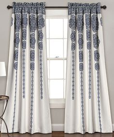 Loving this Navy Stripe Medallion Room-Darkening Curtain Panel - Set of Two on #zulily! #zulilyfinds