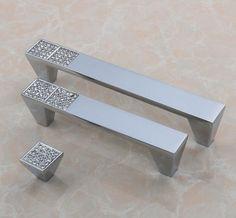 "3.75"" 5"" Glass Dresser Drawer Handles Pulls Knob Chrome Clear Silver Modern…"