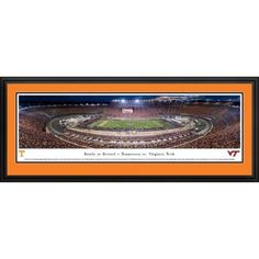 Battle at Bristol - TN vs Vtech Football - Blakeway Panoramas College Print with Deluxe Frame and TN Double Mat, Orange