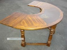 Vtg Jacobean Gothic Revival Half Round Writing Desk Drop Leaf Spanish Table Post-1950 photo